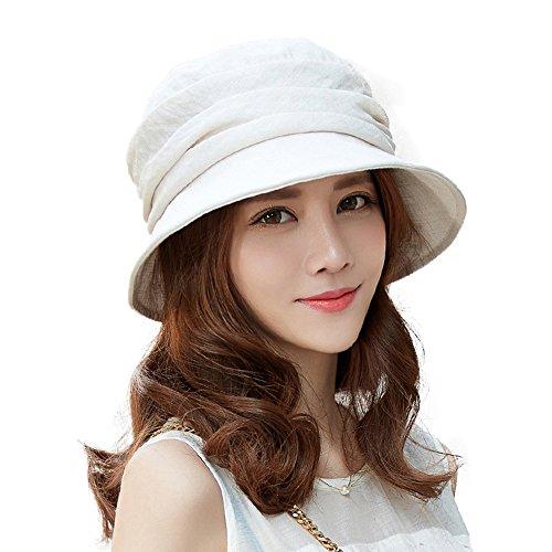 Comhats - Sombrero de verano para mujer, plegable, protección UV 50+, con correa para la barbilla, color gris