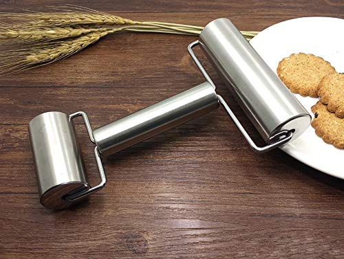 Smooth Stainless Steel Rolling Pin Pastry and Pizza Double Dough Baker Roller Metal Kitchen Utensils Ideal for Baking Dough Pizza Pie Pastries Pasta and Cookies
