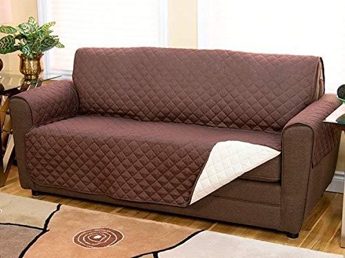 CASA VE Funda para sofá de dos lados acolchada reversible para perros y gatos (179 x 124 cm), 2 Plazas colore marrón