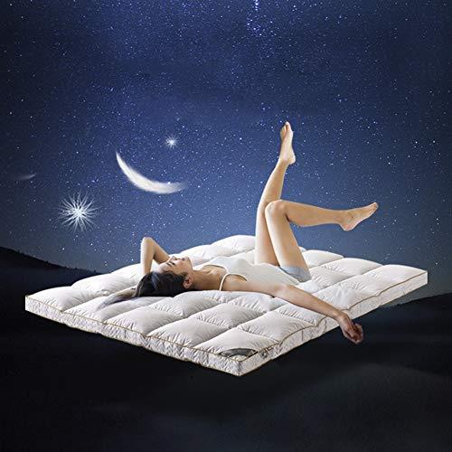 Witte ganzenveren matras topper 10 cm diep extra dik bed topper 100% katoen & veerbestendig stof wasbaar thuis 1.5 * 2.0m