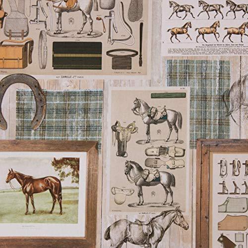 SCHÖNER LEBEN. Dekostoff Halbpanama Baumwolle Vintage Pferdemotive Holzlatten beige braun 1,40m Breite