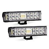Autofeel LED 作業灯 ワークライト LED投光器 7インチ 12v-24v用 16w 3600LM IP68防水 CREE社製チップ搭載 広角照明 拡散タイプ ledライト タイヤ灯 車幅灯 集魚灯 前照灯 バックライト デッキライト 2個入