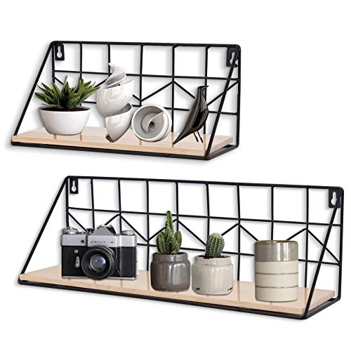 SOGREAT Wandregal Wandmontierte schwebende Regale Set of 2 Rustikale Aufbewahrungsregale aus Metalldraht,Schwarz Küchenregal,Wanddeko - Display Rack Storage Unit Home Decor