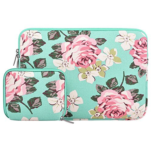 MOSISO Canvas Rose Pattern Sleeve Bag with Small Case Compatible with 13-13.3 inch Laptop, Pure Baby Blue