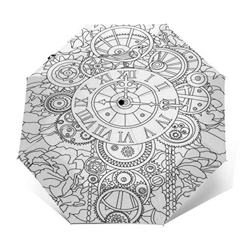TISAGUER Regenschirm Taschenschirm,Hand gezeichnete Skizze Schwarzweiß Bilder,Retro Uhren,Uhren,Zahnräder unter Blumen,Auf Zu Automatik,windsicher,stabil
