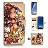 (for Samsung S8, Galaxy S8) Flip Wallet Case Cover & Screen Protector Bundle - A21525 Beauty Beast