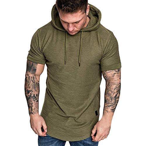 Fashion Men s Blouse Slim Fit Casual Popular Large Size Short Sleeve Hoodie Top Blouse Fashion-Army Green_L_0