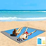 Eastjing 82' x 79' Sand Free Beach Blanket Water Resistant & Sand Proof Beach Mat, Soft 70D Ripstop Nylon Pocket Picnic Blanket with 4 Stakes for Travel, Camping, Hiking and Music