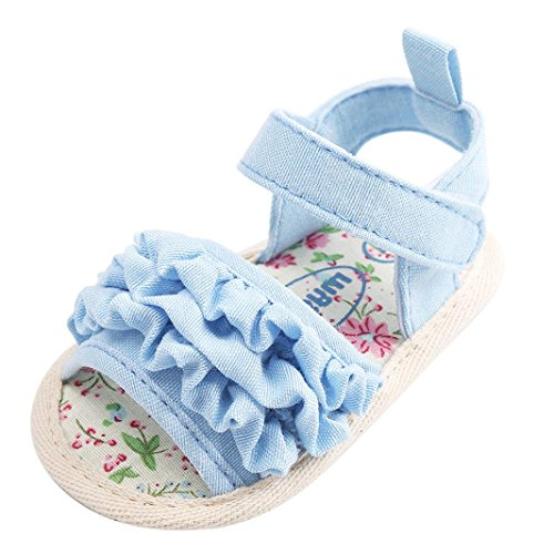 Chaussures de Bébé Sandales,LuckyGirls Joli Bébé Fille Fleur Sandales Anti-dérapant Doux Unique Sneaker - Tissu Coton - 0~18 Mois (Âge: 12~18 Mois, Bleu)