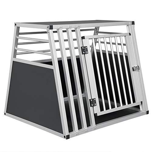 ELIGHTRY Alu Hundebox, Hundetransportbox Reisebox Für Auto Kofferraum Transportbox Hunde Gitterbox, Schwarz