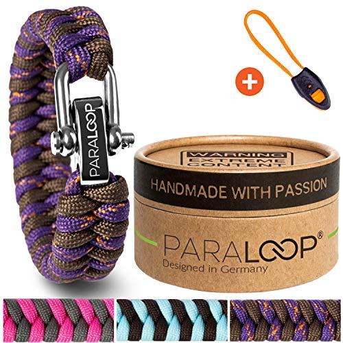 PARALOOP® ORIGINAL Paracord Armband für Frauen + Anhänger mit Signalpfeife in Handarbeit geflochten mit Geschenkbox Verschluss aus Edelstahl Armbänder Damen Lila Grau