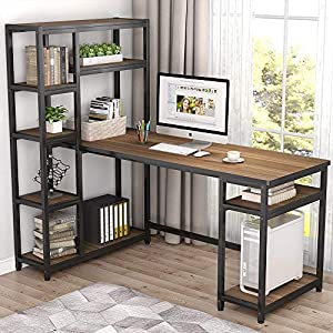 """Tribesigns 67"""" Reversible Large Computer Desk with 9 Storage Shelves, Office Desk Study Table Writing Desk Workstation with Hutch Bookshelf for Home Office, Rustic Oak by Tribesigns"""