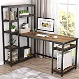 Tribesigns 67' Reversible Large Computer Desk with 9 Storage Shelves, Office Desk Study Table Writing Desk Workstation with Hutch Bookshelf for Home Office, Rustic Oak