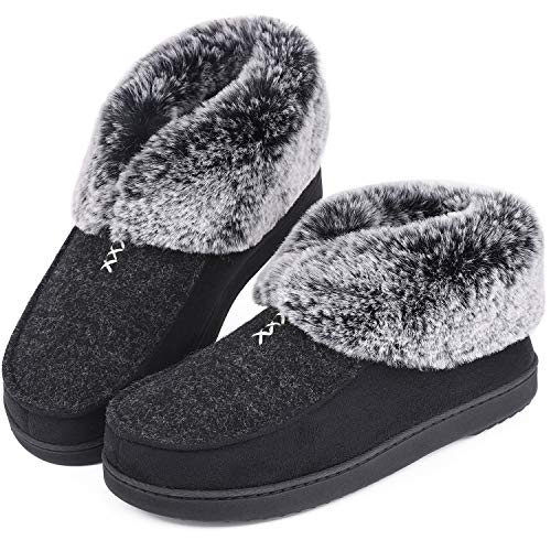 Womens Cozy Memory Foam Slippers Fluffy Wool Like Faux Fur Fleece Lined House Shoes with Non Skid Indoor Outdoor Sole (9 B(M) US, Deep Black)