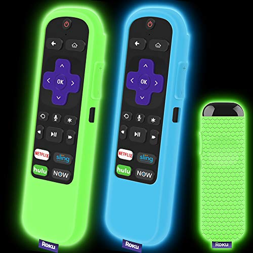 2 Pack Silicone Protective Case for Roku Express/Streaming Stick Remote Non-Slip Shockproof Holder Sleeve Cover for Roku Express/Express+, Streaming Stick/Stick+ Remote Control (Glow Green+Glow Blue)