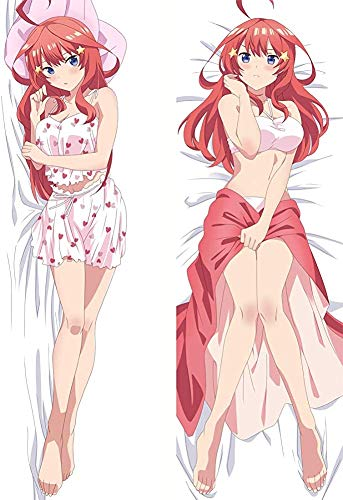 Promini The Quintessential Quintuplets Nakano Itsuki Anime Darling Hugs Covered Zipper Body Pillow Case, Soft Cover Double Sided Throw Pillowcases 50x150cm(20x59 Inch)