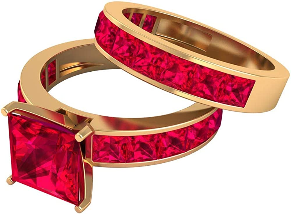 Unique Wedding Ring lowest price Set 6.2Ct Princess Created Cut Lab Our shop OFFers the best service Rin Ruby