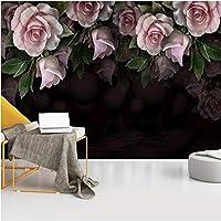 Lcymt 壁画壁紙3Dステレオヨーロピアンスタイルレトロ花黒写真壁壁画リビングルーム寝室の壁の装飾-280X200Cm