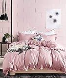 Boqingzhu Bettwäsche 135 x 200 cm Rosa Rüschen Uni Einfarbig Weich Microfaser Bettdeckenbezug mit Reißverschluss und Kopfkissenbezug 80 x 80 cm