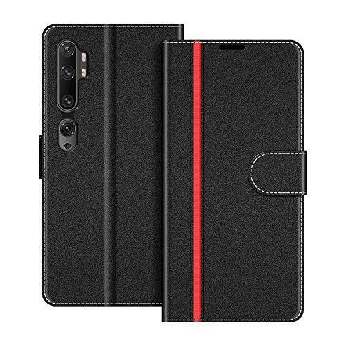 COODIO Handyhülle für Xiaomi Mi Note 10 Handy Hülle, Xiaomi Mi Note 10 Pro Hülle Leder Handytasche für Xiaomi Mi Note 10 / Mi Note 10 Pro Klapphülle Tasche, Schwarz/Rot