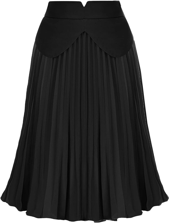 Belle Poque Women's High Waist Pleated Midi Skirt Long A-Line Swing Skirt