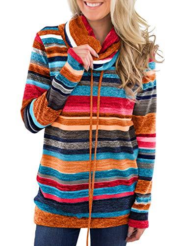 Dokotoo Pull Femme Hoodie Sweat Shirt à Manche Longue Sweat de Sport Col Roulé Blouse T Shirt Chaud Hiver,A-orange,L