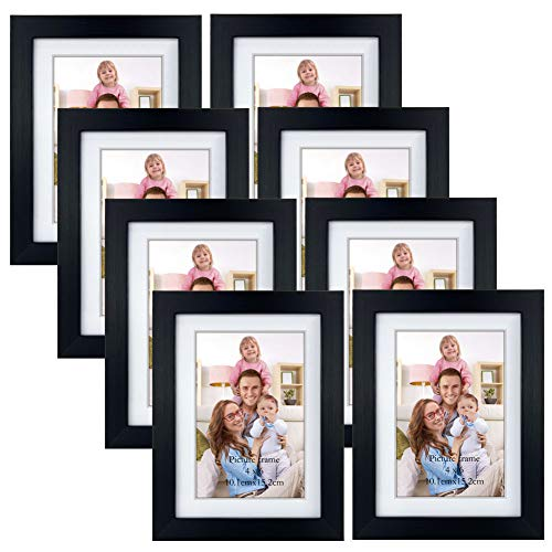 Giftgarden 4x6 Picture Frame Set of 8, Matted to Display 4 x 6 Photo with Mat or 5x7 without Mat for Wall or Tabletop Display, Black