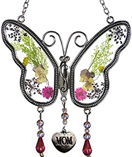 Mom Butterfly Suncatchers Stained Glass Mother Suncatchers with Pressed Flower Wings Embedded in Glass with Metal Trim Mom Heart Charm - Gifts for Mom -Mom for Birthdays Christmas