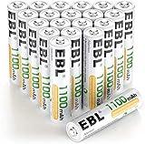 EBL 20 x Pilas AAA Recargables 1100mAh Ni-MH 1,2V Precargadas 1200 Ciclos & 5 x Cajitas de Pila