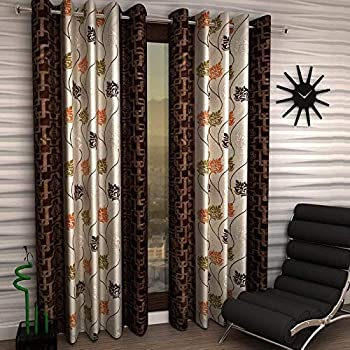 Panipat Textile Curtain Floral Eyelet Single 1 Piece Brown Polyester Curtain,Window 5 Feet
