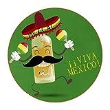 Juego de 6 posavasos redondos para bebidas, posavasos de mesa para tazas y tazas, oficina, cocina, día de los muertos de México