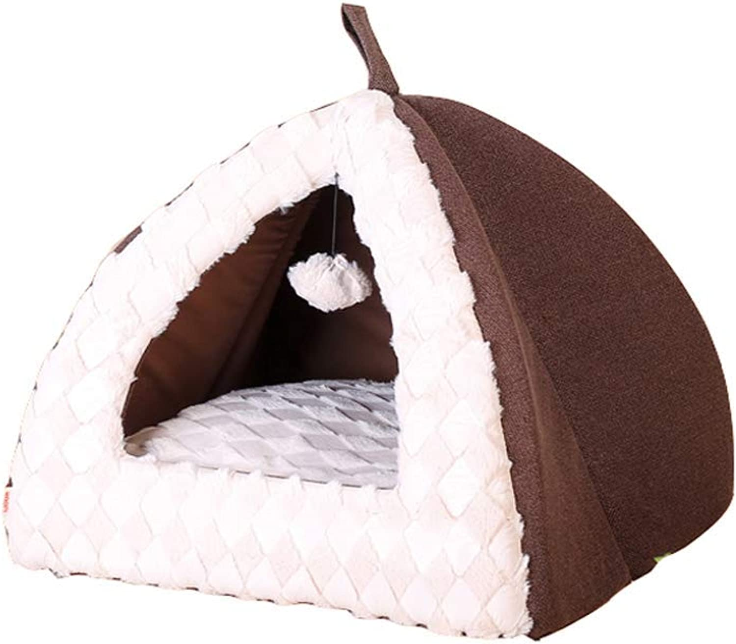 Kennel Cat Litter, Warm Closed Type Thick Nonslip Deep Sleep Yurt Winter Cat Bed Cat House Winter Cat Supplies Dog Bed (color   BROWN, Size   S)