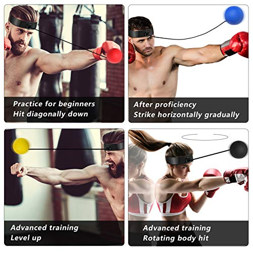 OOTO Upgraded Boxing Reflex Ball, Boxing Training Ball, Mma Speed Training Suitable for Adult/Kids Best Boxing Equipment for Training, Hand Eye Coordination and Fitness (Black+red+blue+yellow)