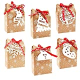 SIUNDAM 24 Piezas Cajas Bolsas de Regalo Bolsa de Regalo Navidad Cajas de Kraft Bolsas de Papel de Caramelo Caja de Papel de Navidad para Fiesta Dulces Galletas Chocolates Decoración de Regalos