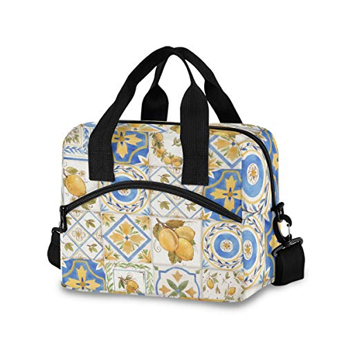 OREZI Insulated Lunch Tote Bag for Adult Men Women,Vintage Watercolor Sicily Ornament Square Lemons Pattern Kid's School Lunchbox with Detachable Shoulder Strap for School Office Fishing