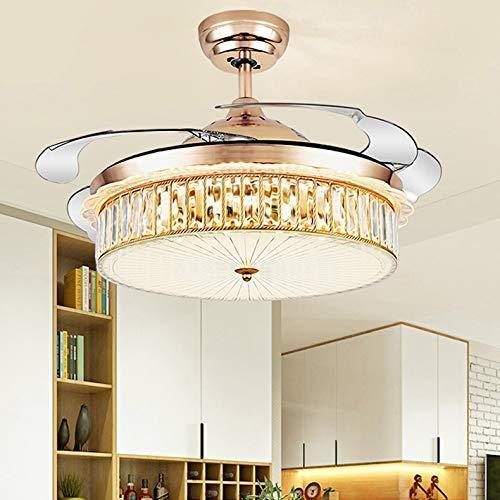 Luz de techo de simplicidad moderna nórdica, luz de ventilador invisible de iones negativos LED, ventiladores de techo con luces y control remoto, iluminación decorativa de candelabro inteligente