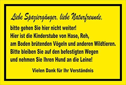 Melis Folienwerkstatt Schild Wildtiere Nicht weiter gehen - 15x10cm - Bohrlöcher - 3mm Aluverbund – 20 VAR S00359-109-C
