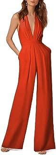 MogogoWomen Halter Sleeveless Deep V Neck Wide Leg Jumpsuit with Pockets Orange S