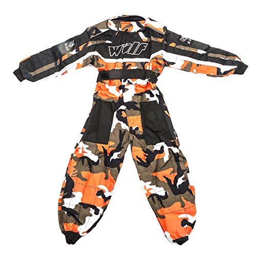 Bambini tuta motocross : WULFSPORT Junior 1 pezzo Suit Tuta moto intera da ragazzo per quad e off-road, motivo mimetico