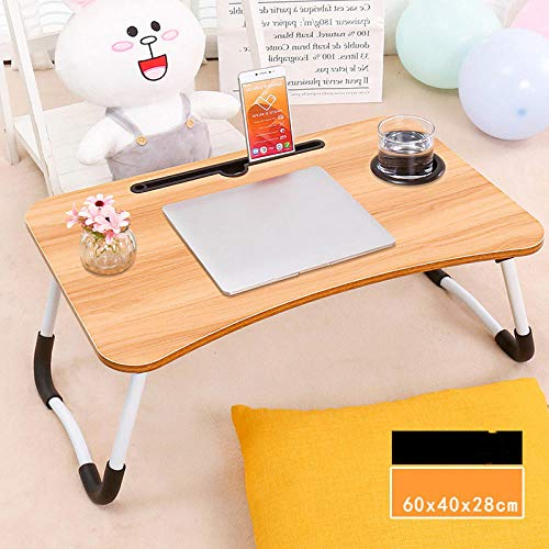 liqingdezh Csfbhf Laptop Bed tafel staan bed en bank Breakfast Bed Tray Laptop Desk Folding Breakfast Service Coffee Tray Notebook Stand Reading Stand W leg + card slot + cup holder [yellow]