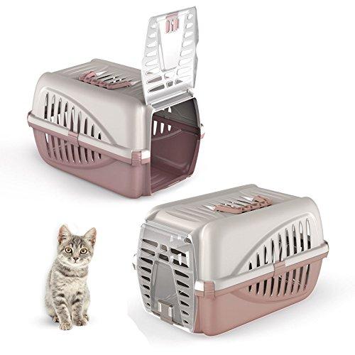 Pink Pet Cat Puppy Carrier - Premium Portable Large Front Car Travel Box Vet Carrying Case