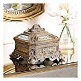 Universal Lighting and Decor Florentine 5 3/4' Wide Antique Gold Mirrored Jewelry Box - Kensington Hill