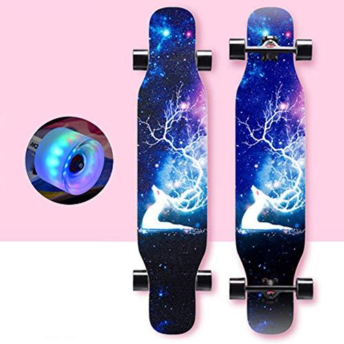 DFWYG Longboard Kinder Anfänger 43 Zoll Vintage Fancy Cruiser Street Skateboards,Mädchen Jungen Erwachsene Profis Old School Pinsel Street Buntem LED-Lichtrad Surfing Penny Board,Blau, HSGAV