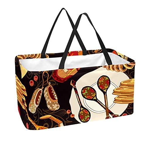 Bolsa de la compra reutilizable reutilizable para alimentos, diseño de comida de la cocina rusa – Gran bolsa estructurada resistente