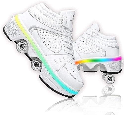 Patines de ruedas con luz LED para mujer Patines de cuatro ruedas Patines de ruedas Patines de ruedas para niños Calzado deportivo Patines en línea Zapatos multiusos 2 en 1 ajustables, EU33