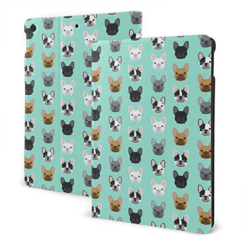 French Bulldog Flip Protective PU Leather Wallet Tablet Case for IPad 7th 10.2', Rotating Stand Smart Magnetic Auto Wake Up/Sleep Cover Cases