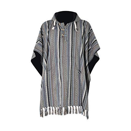 virblatt - Poncho Herren Baja Hoodie goa Jacke Jerga Ethno Pullover Alternative Kleidung Hippie Look - Arriba Blue
