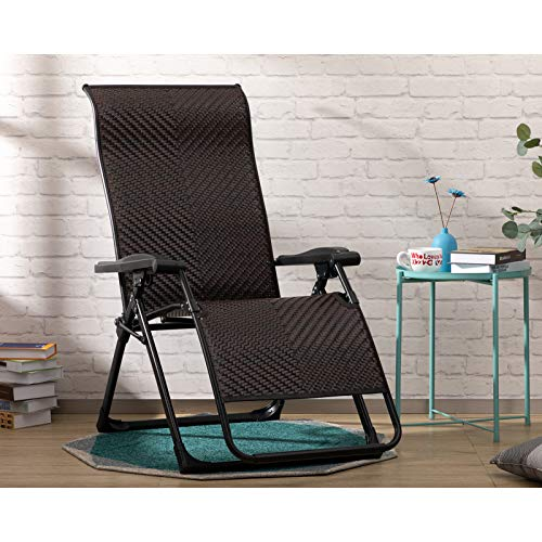 AbocoFur Rattan Folding Zero Gravity Chair for 500lbs IndoorampOutdoor Adjustable Recliner with Steel Frame and Widened Armrest Heavy Duty Lounge Chair for Courtyard Balcony Office Brown