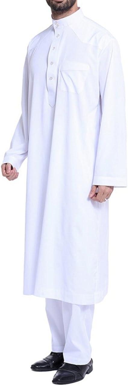 Camisa de Oriente Medio para Hombres con Pantalones,Casual Dubai Kaftan Arab Clothing S-XXXL