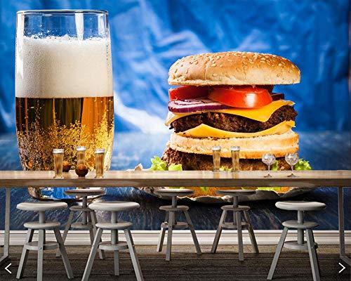 BHGJM Selbstklebend 3D Hintergrund Bier Hamburger Highball Cup Schnellrestaurant Café Wandbild Restaurant Bar Gym Tapete Kinderzimmer Büro Wandbild Bar Internet Cafe Tapete Obstlad(B)300×(H)210cm